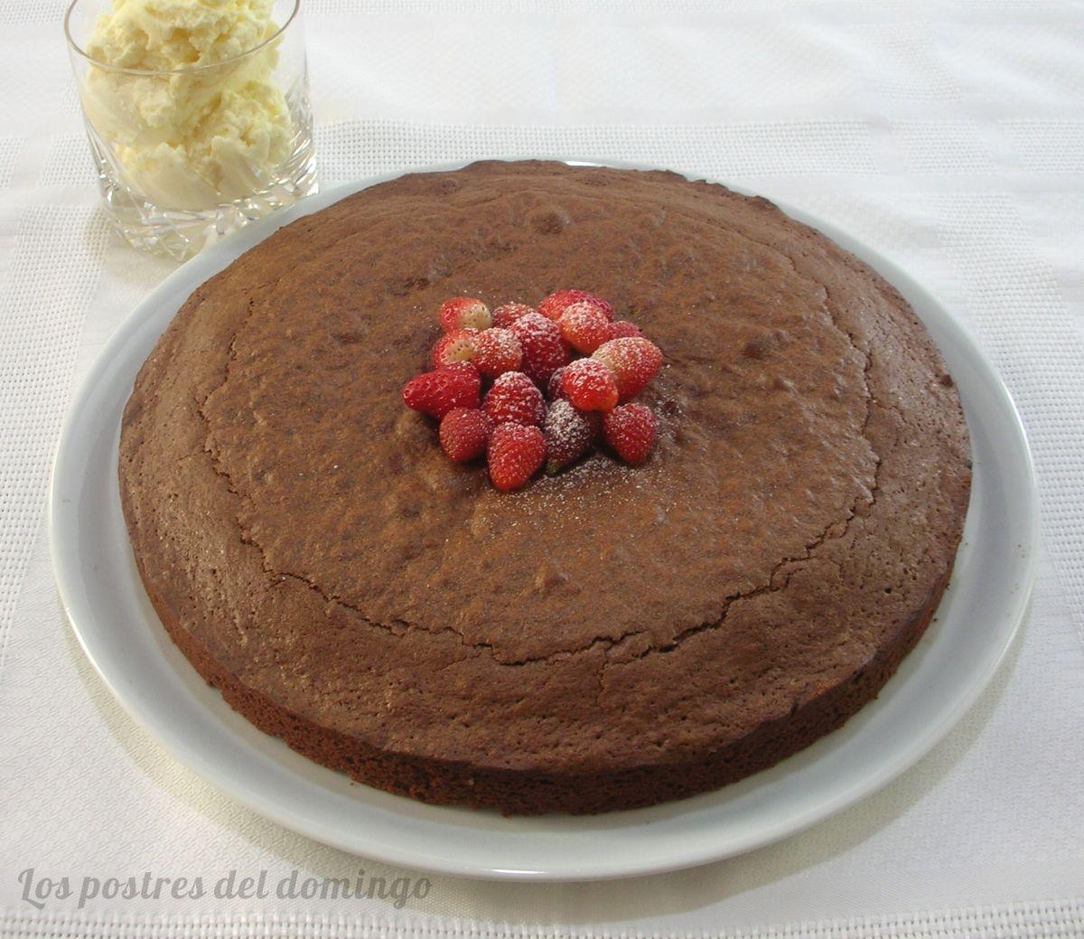 Brownie con mascarpone y fresas