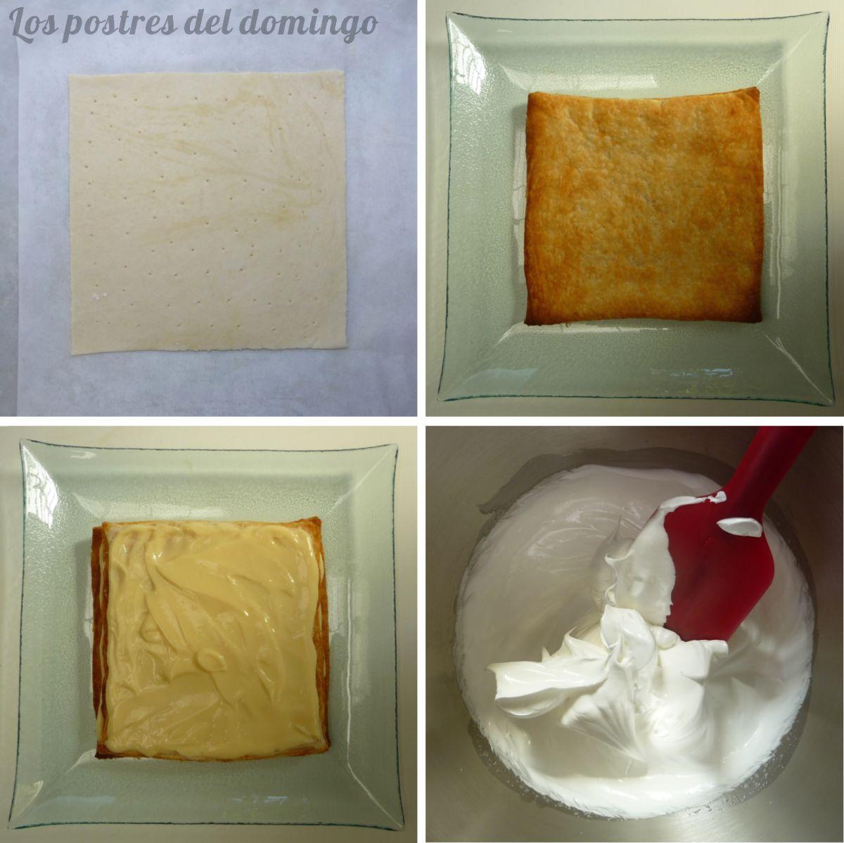Milhojas de crema y merengue montaje
