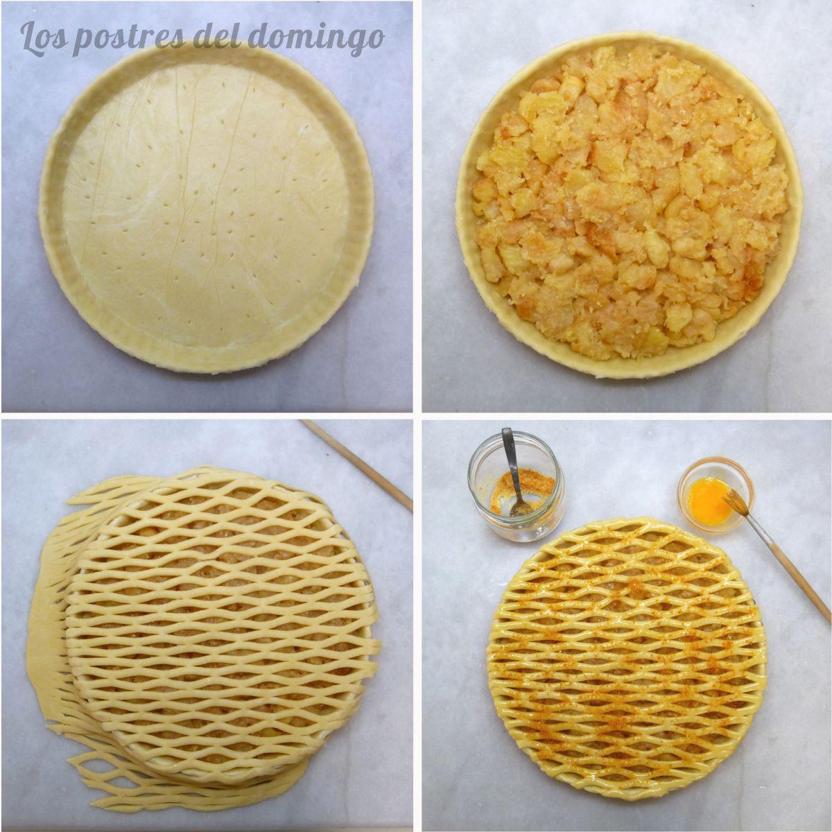 Tarta de manzana caramelizada montaje