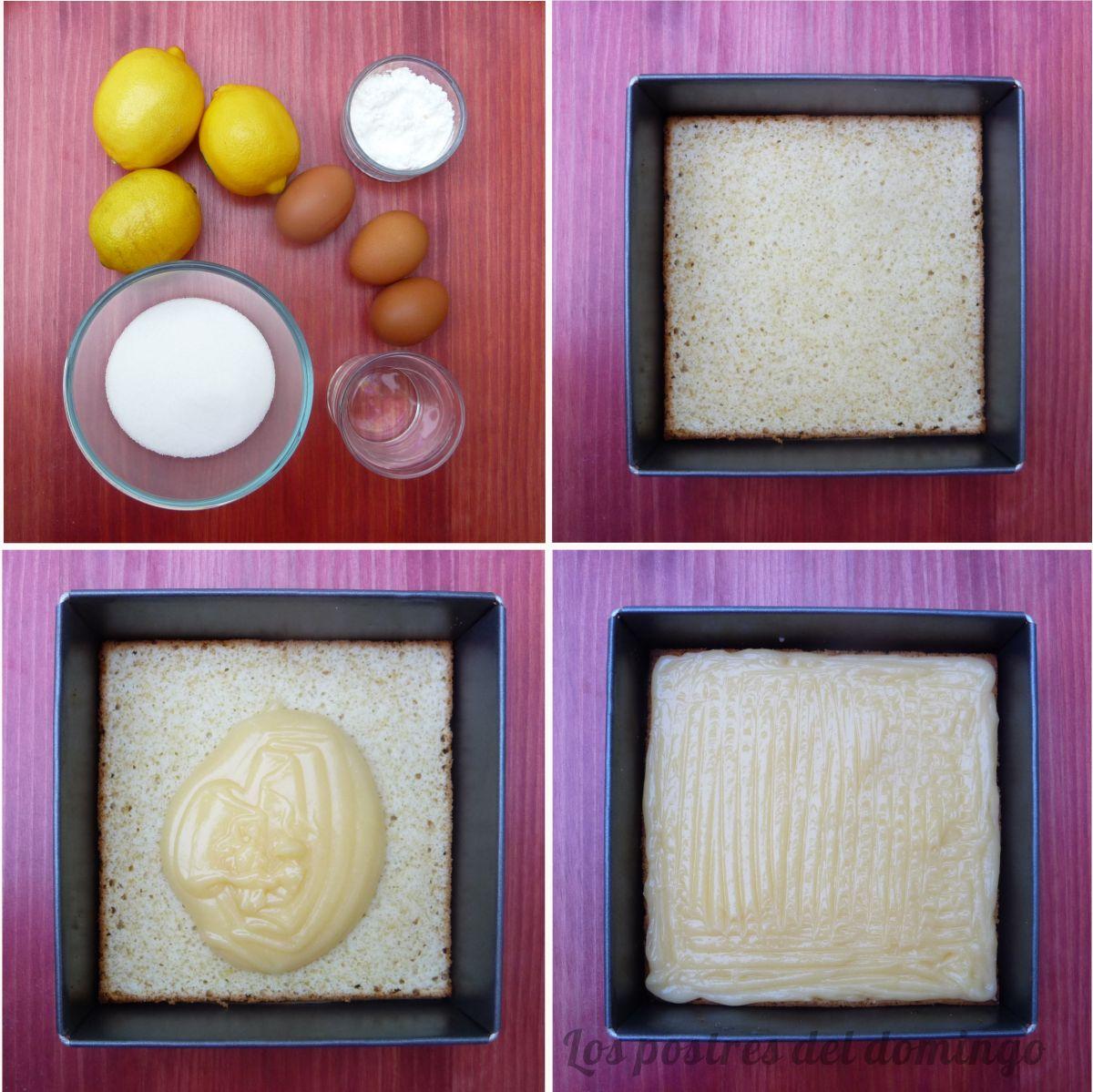 Tarta de limón y piña montaje