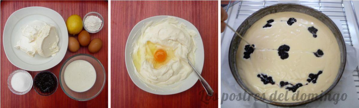 Tarta de queso y arándanos montaje