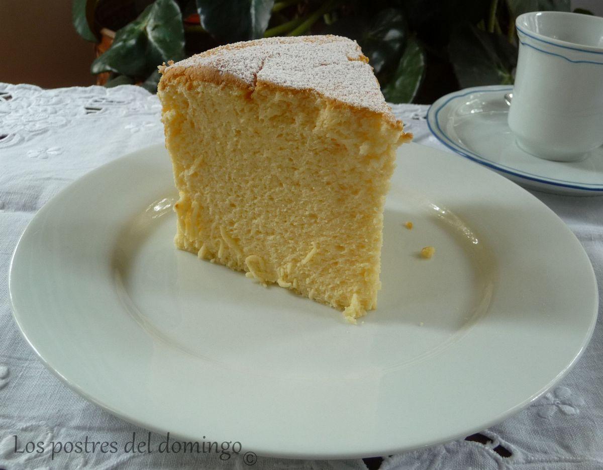 pastel de queso japonés corte