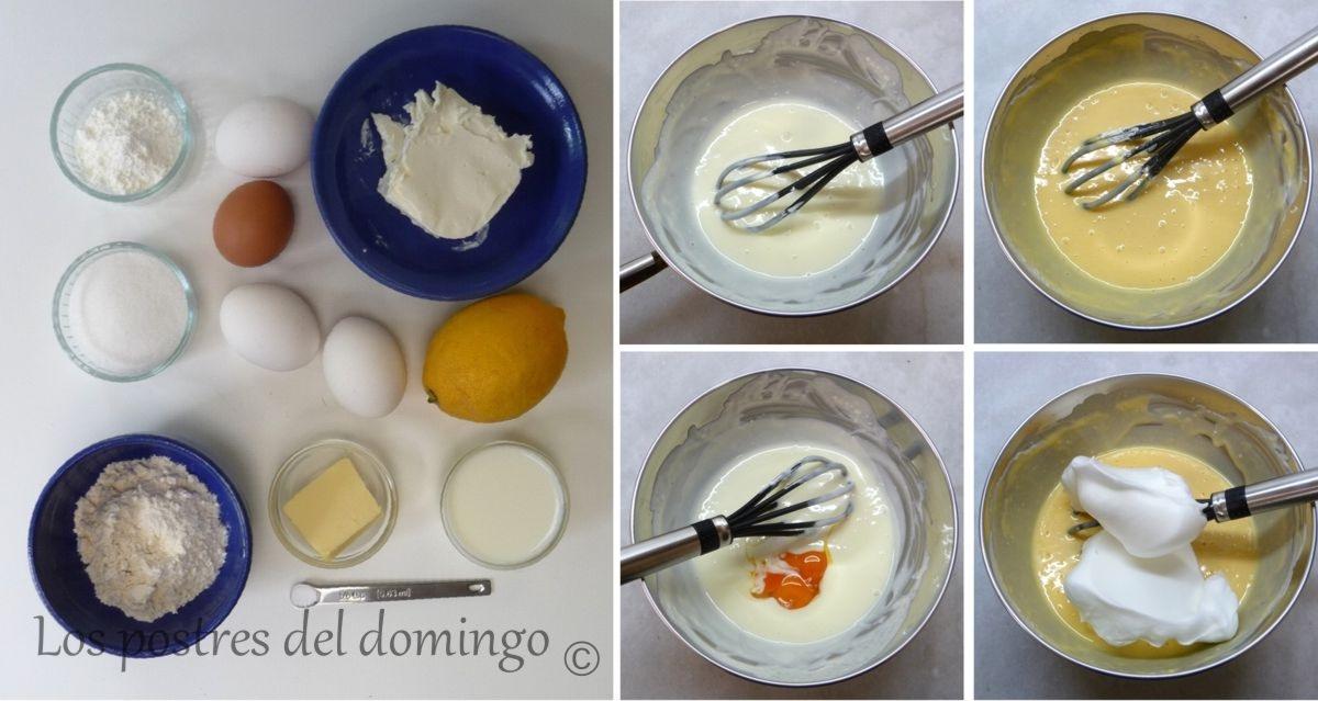 Pastel de queso japonés montaje