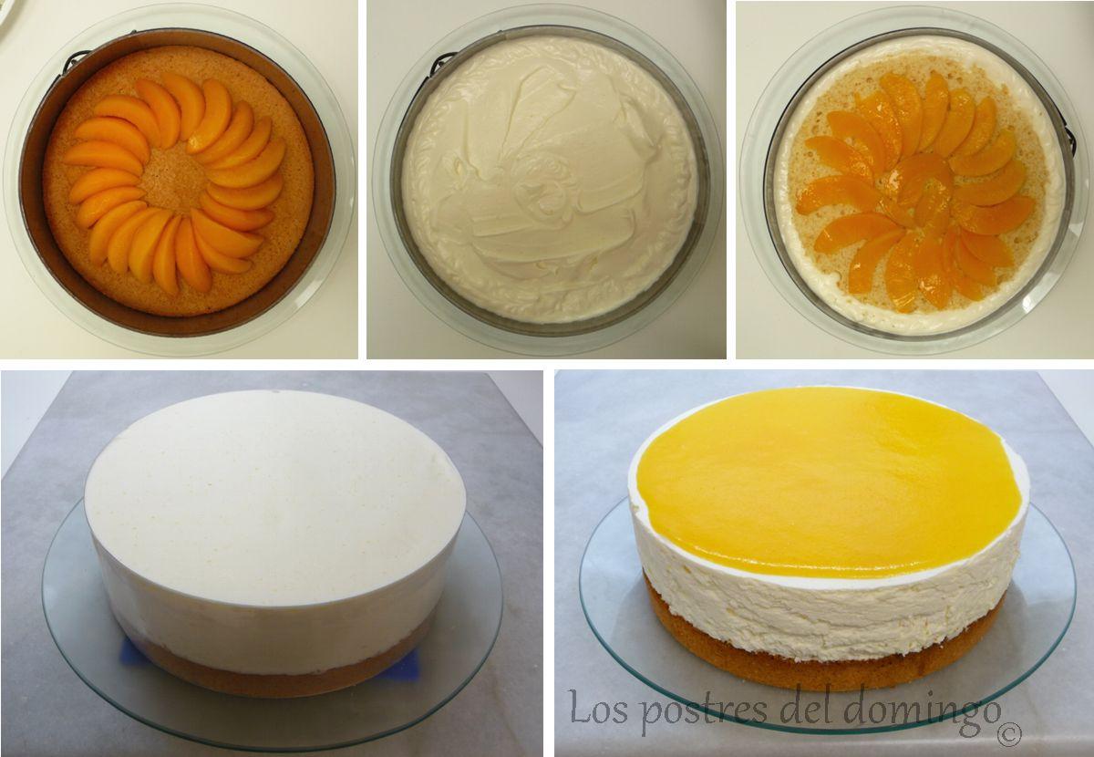 tarta de melocotón en almíbar montaje