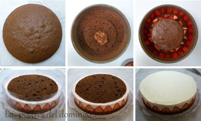 tarta de chocolate, nata y fresas_montaje