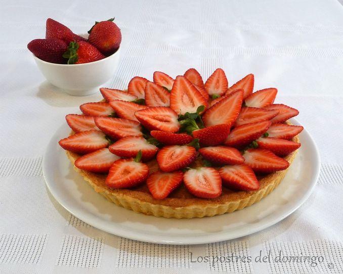 tarta de quark con fresas